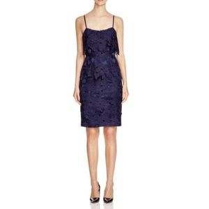 Black Halo Ora Crochet Sheath Dress in Navy Blue 8